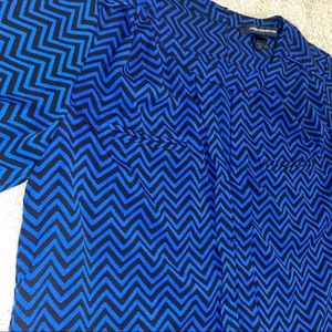 French Connection black and blue chevron shirt